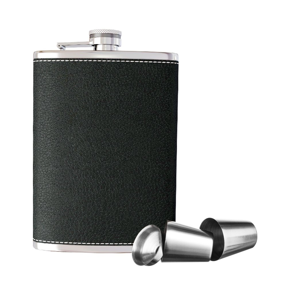 New Scale 8oz Black PU Leather Flask Gift Set Premium in Black Gift Box Pocket Hip Flask 8 Oz with Funnel - 18/8 Stainless Steel and 100% Leak Proof for Discrete Liquor Shot Drinking