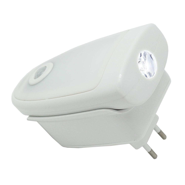 pl/ástico melianda LED Luz nocturna luz de orientaci/ón con sensor crepuscular y funci/ón linterna wei/ß 13 x 9 x 6.6 cm
