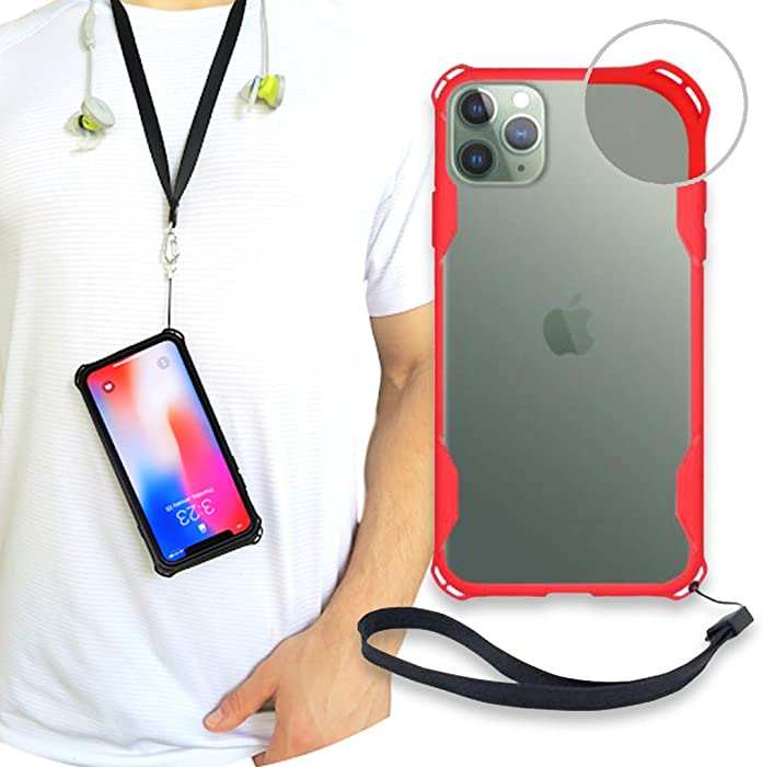 New iPhone 11 Clear Slim Case with Wrist Strap & Lanyard | Best Rugged TPU Bumper Case | Strong Loop Hole Attachments for Leash, Tether Holder etc. (Red, iPhone 11)