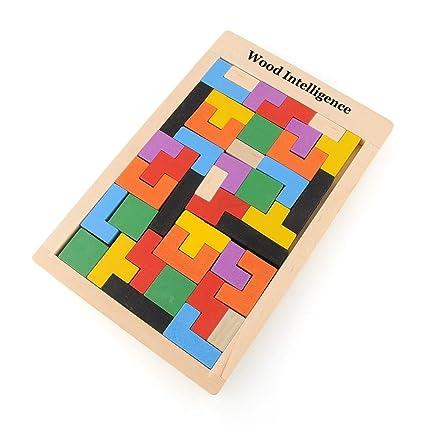 Colorful Wooden Tangram Brain Teaser Puzzle Toys Tetris Game Preschool Maginatio