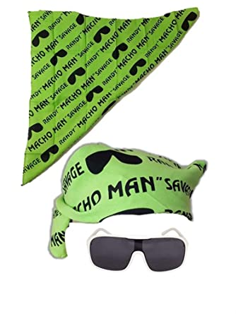 fc5cbbe0d84 Amazon.com  Macho Man Randy Savage Colored Costume Glasses Bandana-Green   Clothing