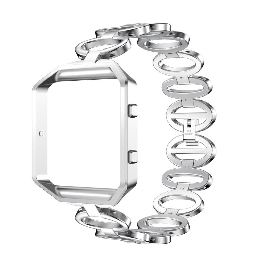 Kanzd Stainless Steel Bracelet Smart Watch Band Strap + Case Cover For Fitbit Blaze (Silver)