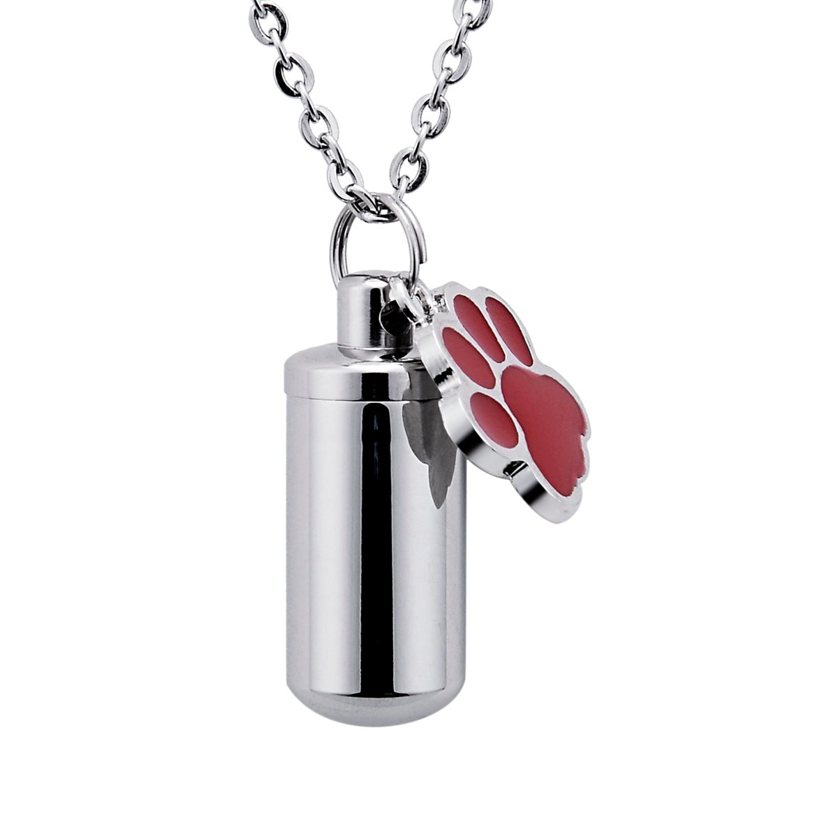 Pet Dog Paw Charm Cylinder Cremation Ashes Urn Necklace Memorial Pendant Keepsake Keychain Stainless Steel Ashes Jewelry BY B00YE0A09X