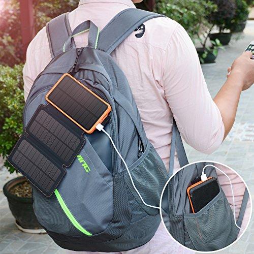 a5a7edf215d3 Portable Solar Charger, Hiluckey 10000mAh Solar Power Bank with 3 ...