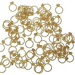 "Ling's Moment Diamond Ring Confetti for Wedding, Bridal Shower, Bachelorette Decor & Engagement Ring Confetti, Gold Glitter Paper Confetti, DIY Kits, 100pcs of 1"" Rings"