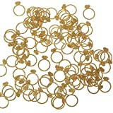 Ling's moment Diamond Ring Confetti for Wedding, Bridal Shower, Bachelorette Decor & Engagement Ring Confetti, Gold Glitter Paper Confetti, DIY Kits, 100pcs of 1' Rings