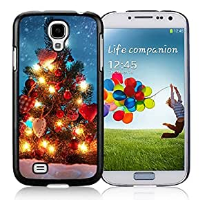 Samsung S4 Case,Red Hear Light Christmas Tree Black Silicone Phone Case Fit Samsung Galaxy S4 Case,Galaxy S4 I