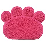 Cat Litter Mat - Pet Food Water Bowl Feeding Placemat Paw Shape - Non-slip - Easy Clean - Stylish Design and Color(Watermelon Red)