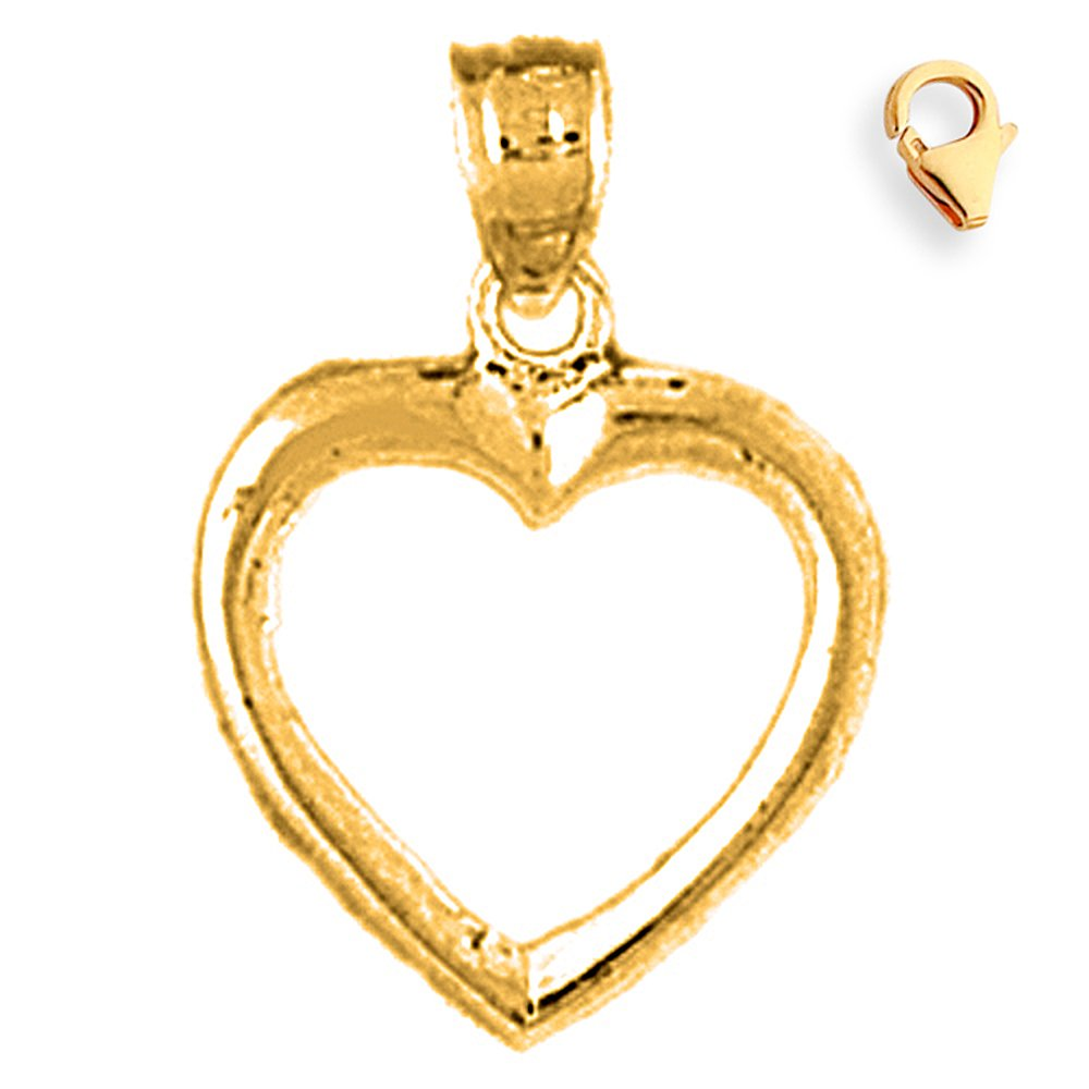 Silver Yellow Plated Floating Heart Charm 20mm