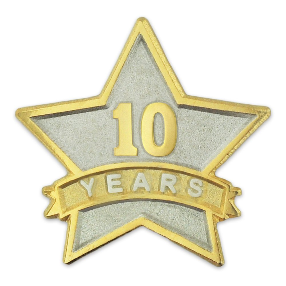 PinMart's 10 Year Service Award Star Corporate Recognition Dual Plated Lapel Pin