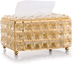 VJRQM Tissue Box,Tissues Cube Box,Paper Towel Dispense,Paper Towel Box,Rhinestone Tissue Box Paper Rack Office Table Accessories Facial Case Holder Napkin Tray for Home Hotel Car,Gold