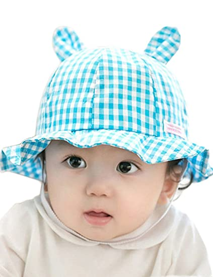 23d5bf48c0a Amazon.com  Unisex Baby Kid Rabbit Ears Hats Boys Girls Outdoor Summer Sun  Grid Cute Hat Cap Adjustable (Blue)  Clothing