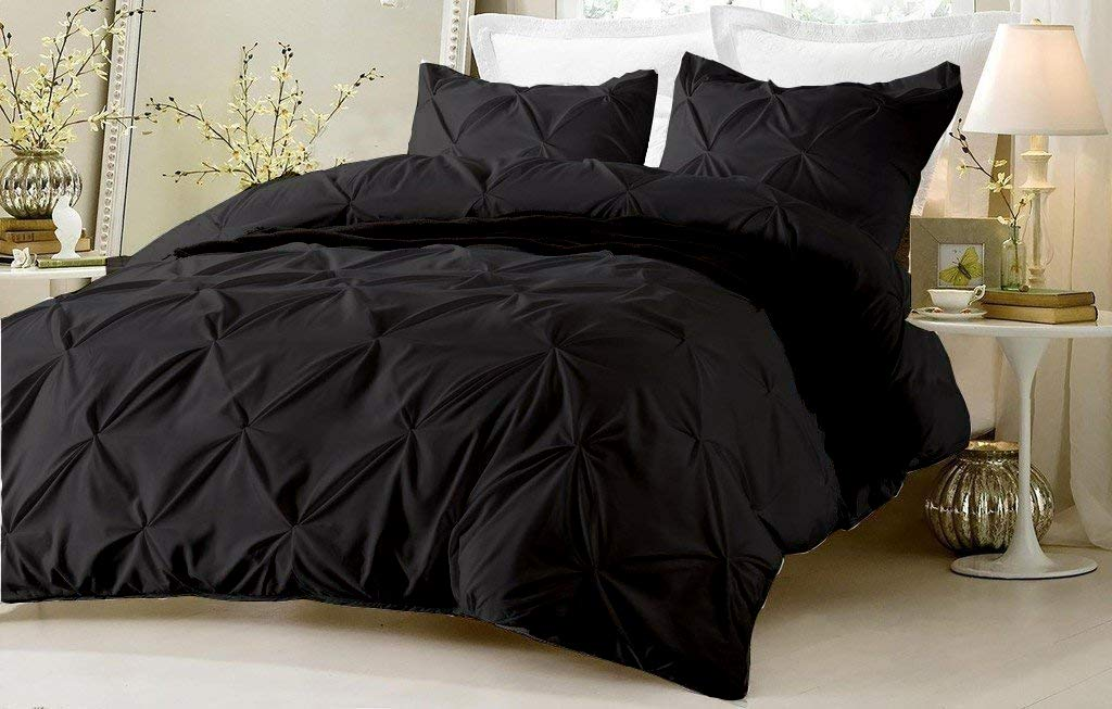 SHEETEX Present Set of 2 Piece Pinch Plated Pillow Shams with Back Over Lapping 1000 Thread Count Pintuck Pillows Luxurious /& Hypoallergenic Decorative Queen Size 20 X 30 Black Solid