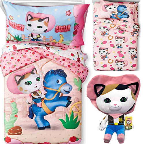 (5pc's Western Pony Horse COWGIRL SHERIFF CALLIE REVERSIBLE Pink Comforter & Sheet Set + SHERIFF CALLIE PILLOW)