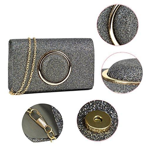 w Glitter Crossbody Bag Strap Clutch Evening Wedding Frosted Purse DASEIN Womens Silver Handbag Chain WvAgnpwzw