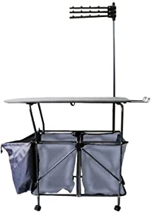 Pearington Rolling Portable Home/Business Laundry Hamper Sorter; Ironing Board, Heavy Duty Folding Station Cart; Fully Assembled- 4 Wheels