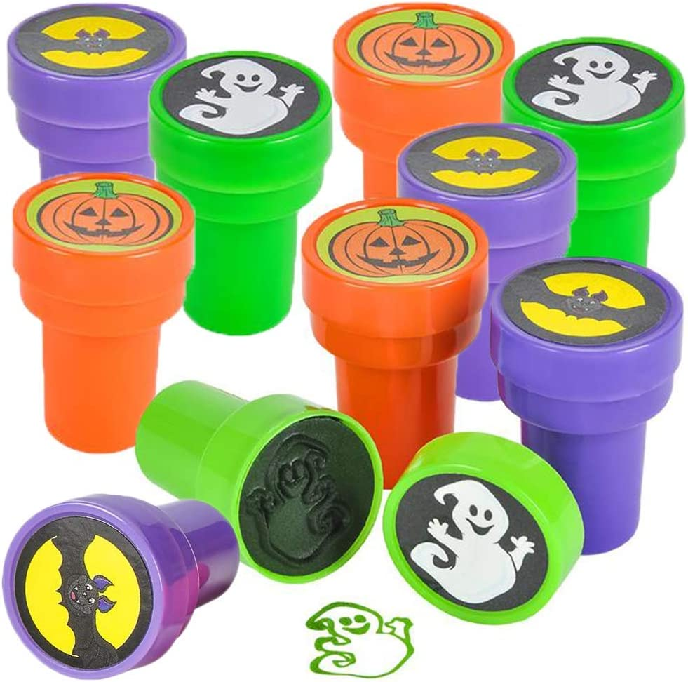 ArtCreativity Halloween Stampers for Kids, Pack of 24 Assorted Pre-Inked Stampers, Best for Halloween Party Favors, Goodie Bag Fillers, Non-Candy Halloween Treats, Trick or Treat Supplies