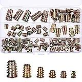 TecUnite 100 Pieces M4/M5/M6/M8/M10 Zinc Alloy Furniture Hex Socket Screw Inserts Threaded Insert Nuts Assortment Tool Kit for Wood Furniture