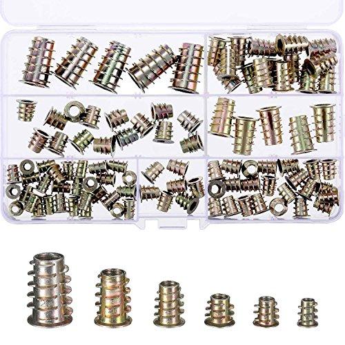 TecUnite 100 Pieces M4/M5/M6/M8/M10 Zinc Alloy Furniture Hex Socket Screw Inserts Threaded Insert Nuts Assortment Tool Kit for Wood Furniture (Locknut Tool Kit)