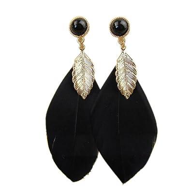 6a0cb3170c078 Amazon.com  Beuu Jumping Property Prices Stylish Bohemian Feather Gem Stud  Earring Style Bead Tassel Earrings Fashion Chain Dangle (Black)  Jewelry