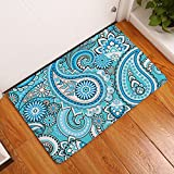 Kitchen Rugs Bright Colors YJ Bear Classical Magatama Pattern Printed Rectangle Doormat Entry Mat Home Decor Carpet Kitchen Floor Runner Indoor Outdoor Area Rug Non Slip Floor Mat Bright Blue 16
