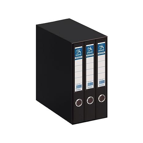 Dohe Archicolor - Módulo 3 archivadores, folio lomo estrecho, color negro