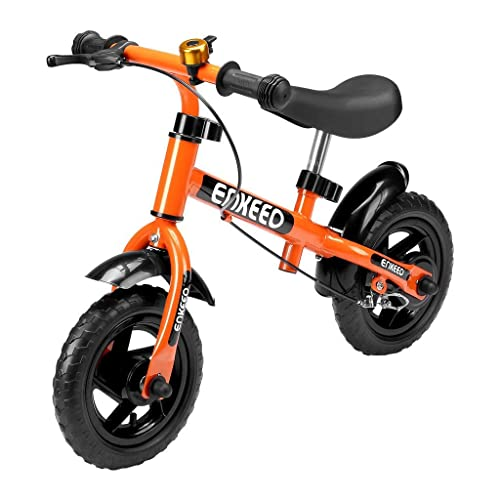 Enkeeo No Pedal Balance Bike Cycling Walking Bicycle With Bell And Hand Brake For Ages 2 To 5 Years Old Adjustable Handlebar And Seat 110Lbs Capacity 10 12 Inch