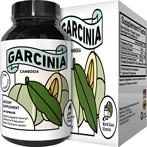 Garcinia Cambogia Weight Loss Supplement with 95% HCA Extract - Pure Carb Blocker Appetite Suppressant for Men and Women - Fast Acting Diet Pills Burn Fat 60 Veggie Capsules by World Class Vitamins by World Class Vitamins