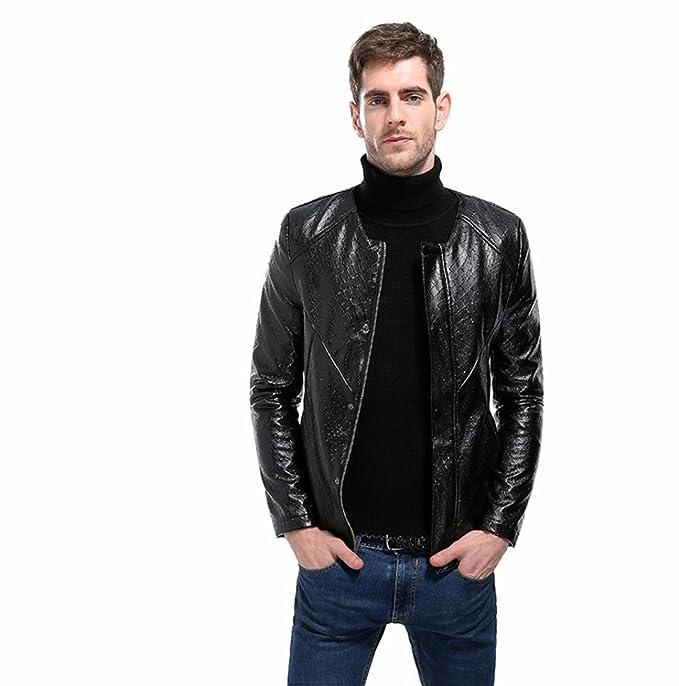 Chaqueta de moto de cuero sintético de patrón acolchado para hombre (M)