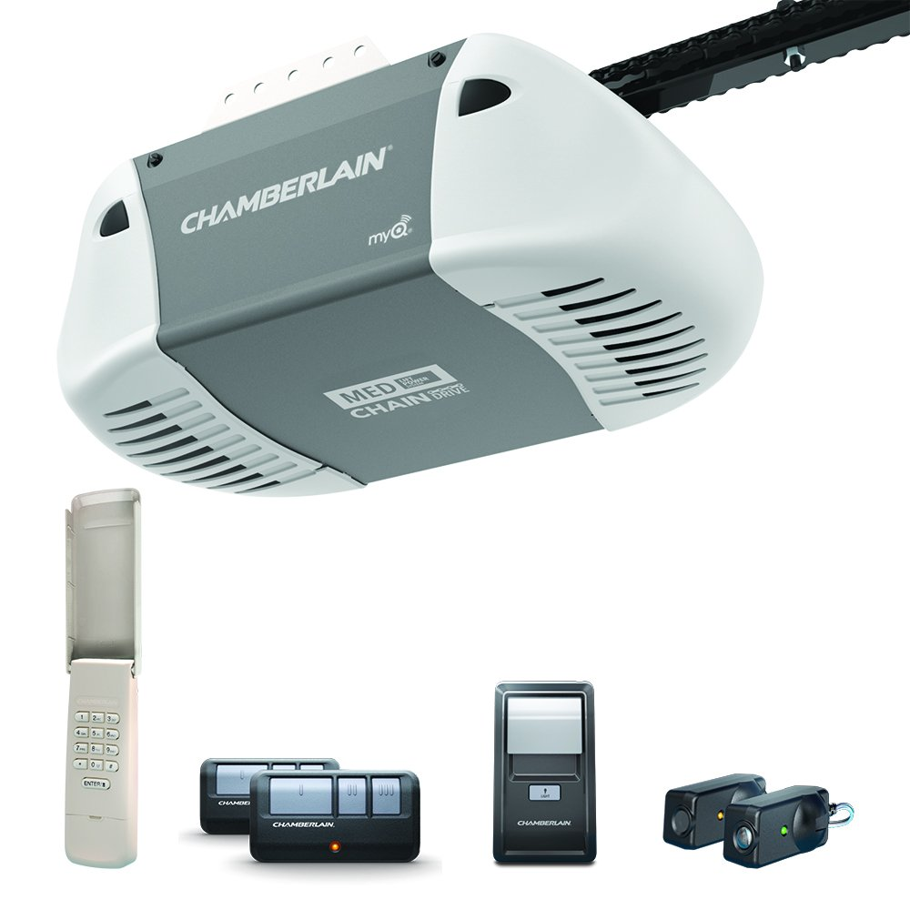 Chamberlain C410 Durable Chain Drive Garage Door Opener with Med Lifting Power, Pewter
