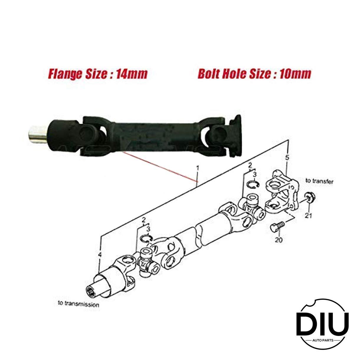 Samurai SJ410 SJ413 1986-1989 Drive Shaft Propeller Shaft Driveshaft Transmission Differential To Transfer Short Wheel Base W// 8mm Diameter Bolts