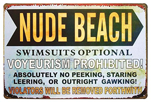 ERLOOD Nude Beach Swimsuits Optional Retro Vintage Metal Tin Sign 12