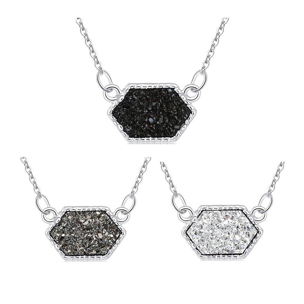 MissNity Faux Druzy Pendant Necklace Fashion Jewelry Women Girls Hexagon Charm Silver Plated White Black Grey Drusy Quartz Children Birthday Gift, 3 Pack (Silver+Black&Gray&White)