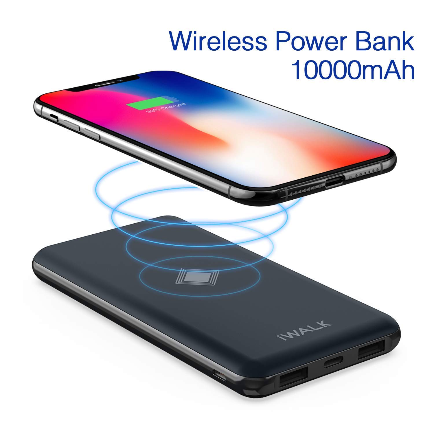 iWALK Wireless Portable Charger, 10000mAh Quick Charge 3.0 & PD 18W Power Bank with 4 Outputs & Dual Inputs, External Battery Compatible with iPhone ...