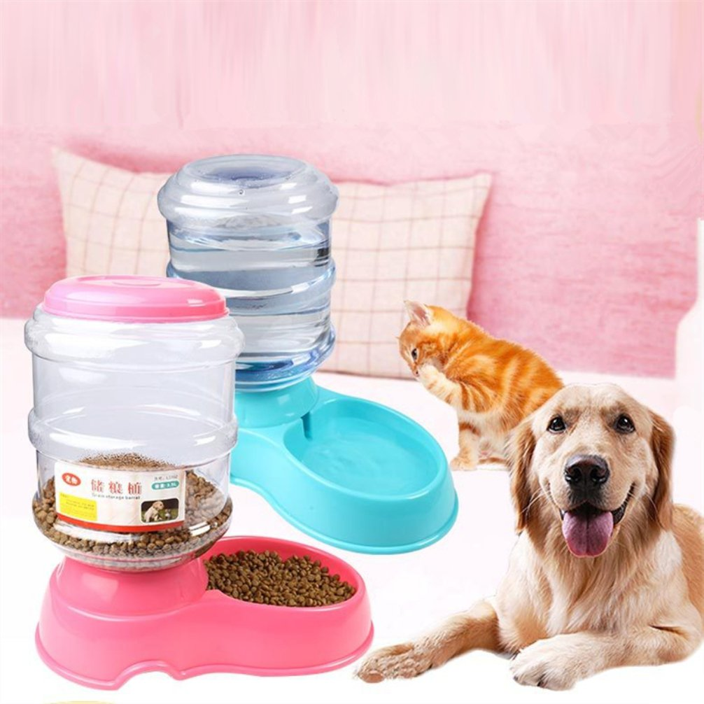 Be Good 3.5L Automatic Pet Feeder ABS Material Water Dispenser Bowl Automatic Gravity Water Container for Dog Cat Puppy Pink