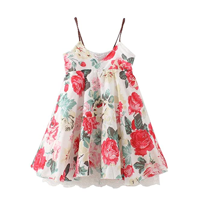 c3af38d64c7 Amazon.com: Meeyou Little Girls' Short Sleeve Dresses, Girls' Cotton ...