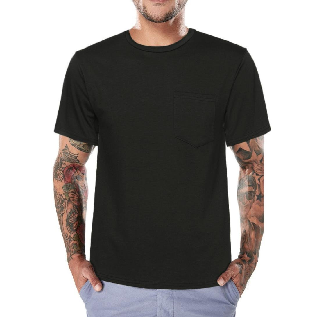 Longra I T-Shirt Herren Sommer Tops I Basic T Shirt I Rundhals-Ausschnitt I Kurzarm Shirt I Regular-Fit I Mauml;nner Shirt I Einfarbige T-Shirts mit Tasche  XXL|Black