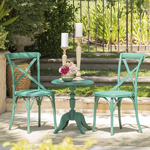 Eco-Cross Patio Furniture 3 Piece Outdoor Chat Set 100 Post Consumer Recycled Nylon in Magnolia Green