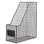 Brown Wire Metal Magazine Rack / Mail Holder / Document File Folder Storage Basket w/ Label Holder