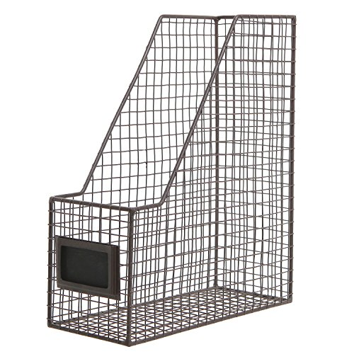 Brown Mesh Wire Metal Magazine Rack/Mail Holder/Document File Folder Storage Basket w/Label Holder