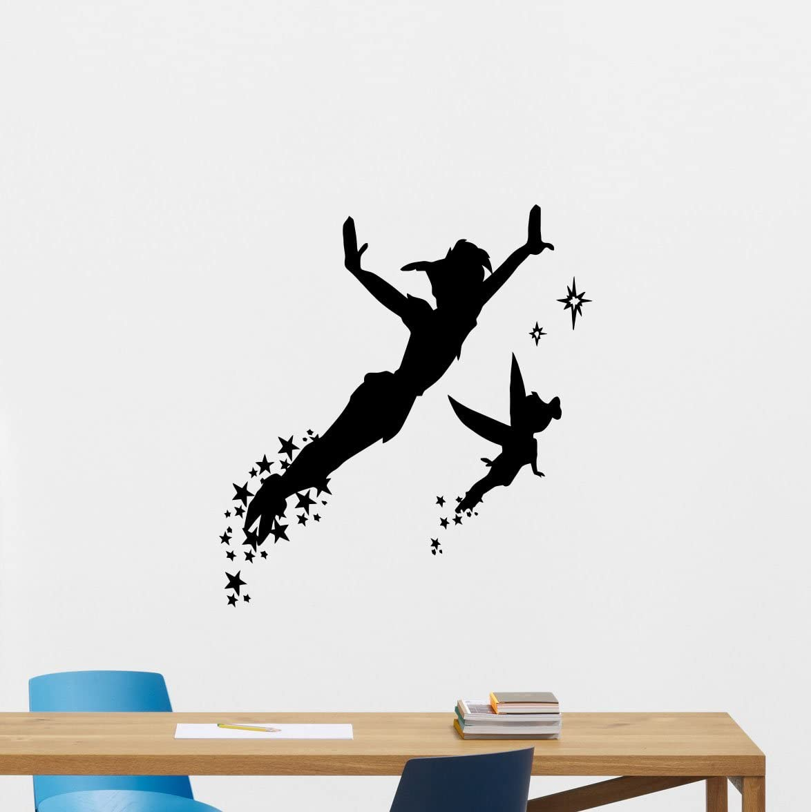 Amazon Com Peter Pan Wall Decal Walt Disney Fairy Silhouette Cartoons Quotes Vinyl Sticker Baby Girl Boy Custom Kids Room Art Bedroom Nursery Poster Decor Mural 247crt Kitchen Dining
