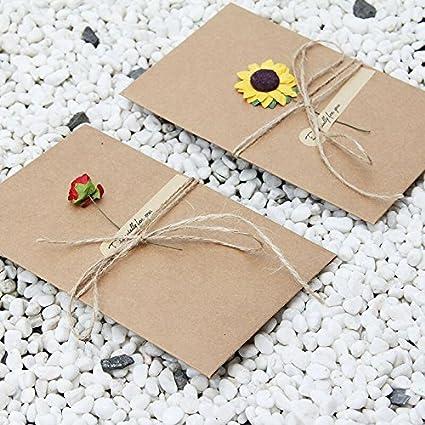 Tarjeta de Felicitaci/ón,Hechas a mano de bricolaje Tarjetas de papel de Kraft en blanco dentro del paquete y sobres multipack para el presente de cumplea/ños Aniversario de boda Regalos