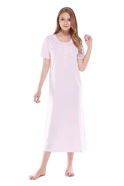 Keyocean Women s Nightgowns 100% Cotton Lace Trim Short Sleeve Solid Long  Sleepwear for Women 5e7164ae74