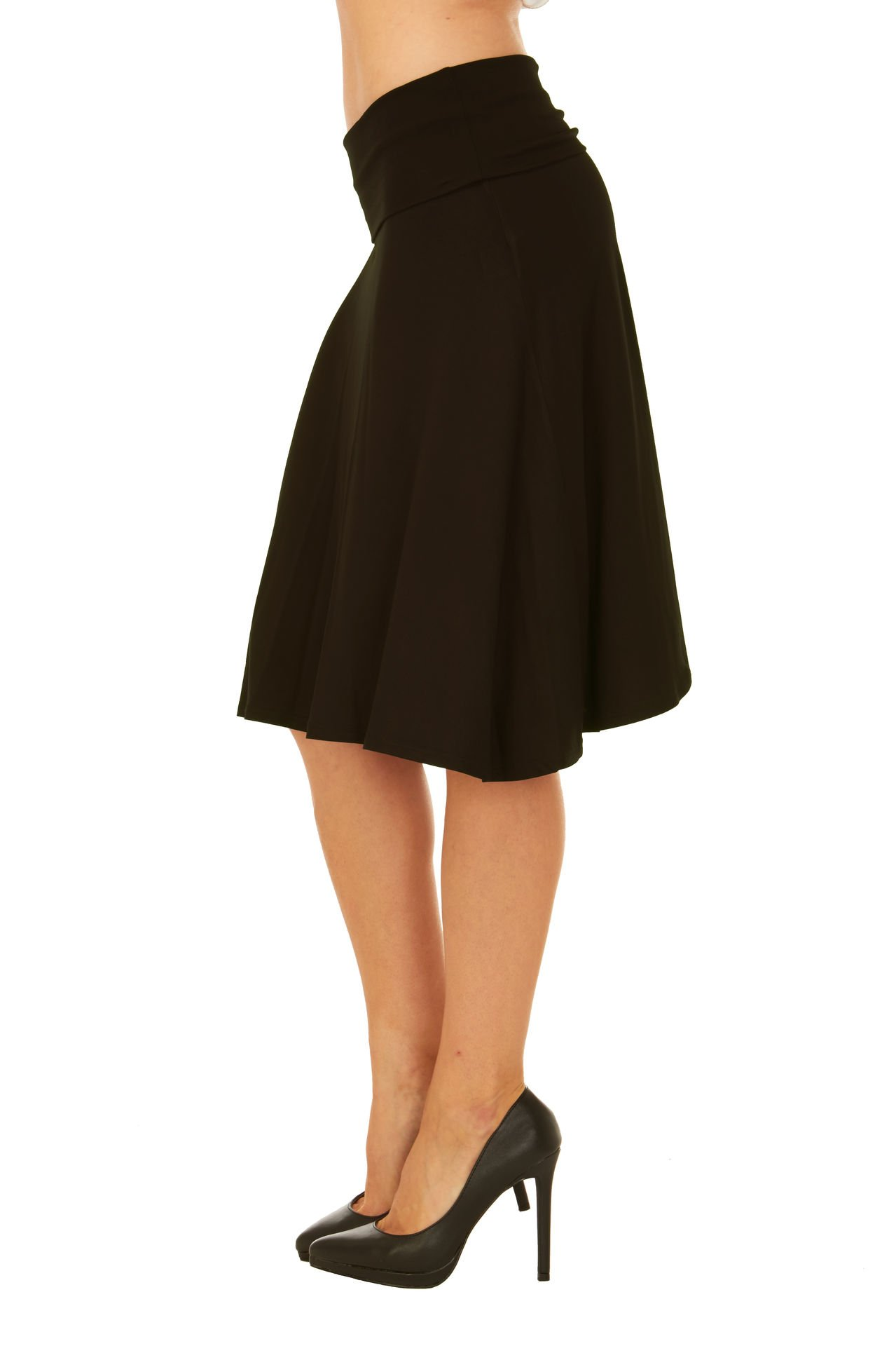 Red Hanger Womens Basic Solid Stretch Fold-Over Flare Midi Skirt (Black-L) by Red Hanger (Image #2)