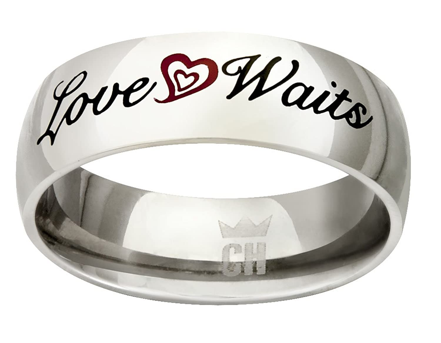 """CH3 """"Love Waits"""" Stainless Steel CTR Ring True size 7"""