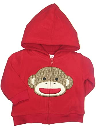2d4c429f3 Amazon.com  Red Microfleece Sock Monkey Baby Hooded Jacket (12 ...