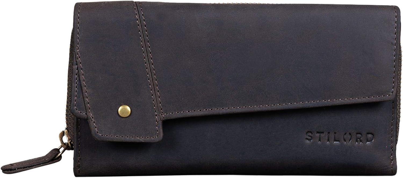STILORD 'Sophia' Vintage Cartera Cuero Mujeres RFID Protector Monedero Billetera para Señora 15 Tarjetas Billetes y Monedas con Caja de Regalo, Color:marrón Oscuro