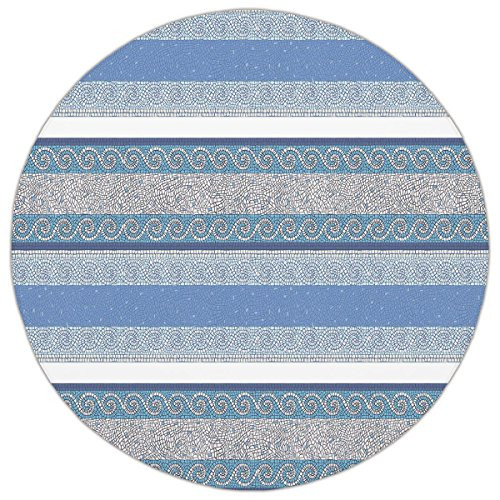 Round Area Rug Mat Rug,Toga Party,Mosaic Inspired Borders in Antique Style Swirl Motifs Geometric Artistic,Blue White Beige,Home Decor Mat with Non Slip Backing