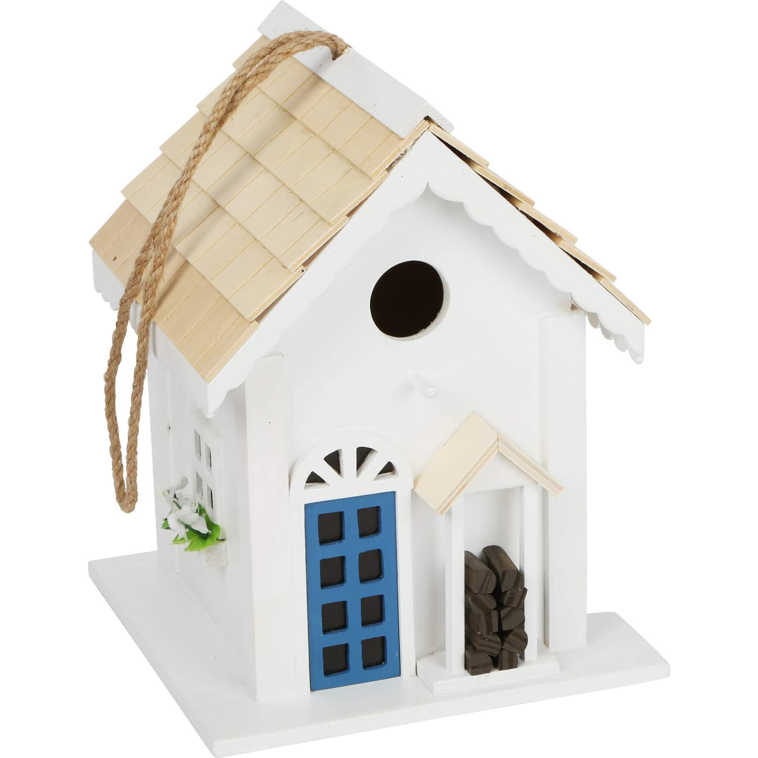 Wooden Birdhouse Country Cottage Style For Hanging Up Decorative Nesting Box For The Garden