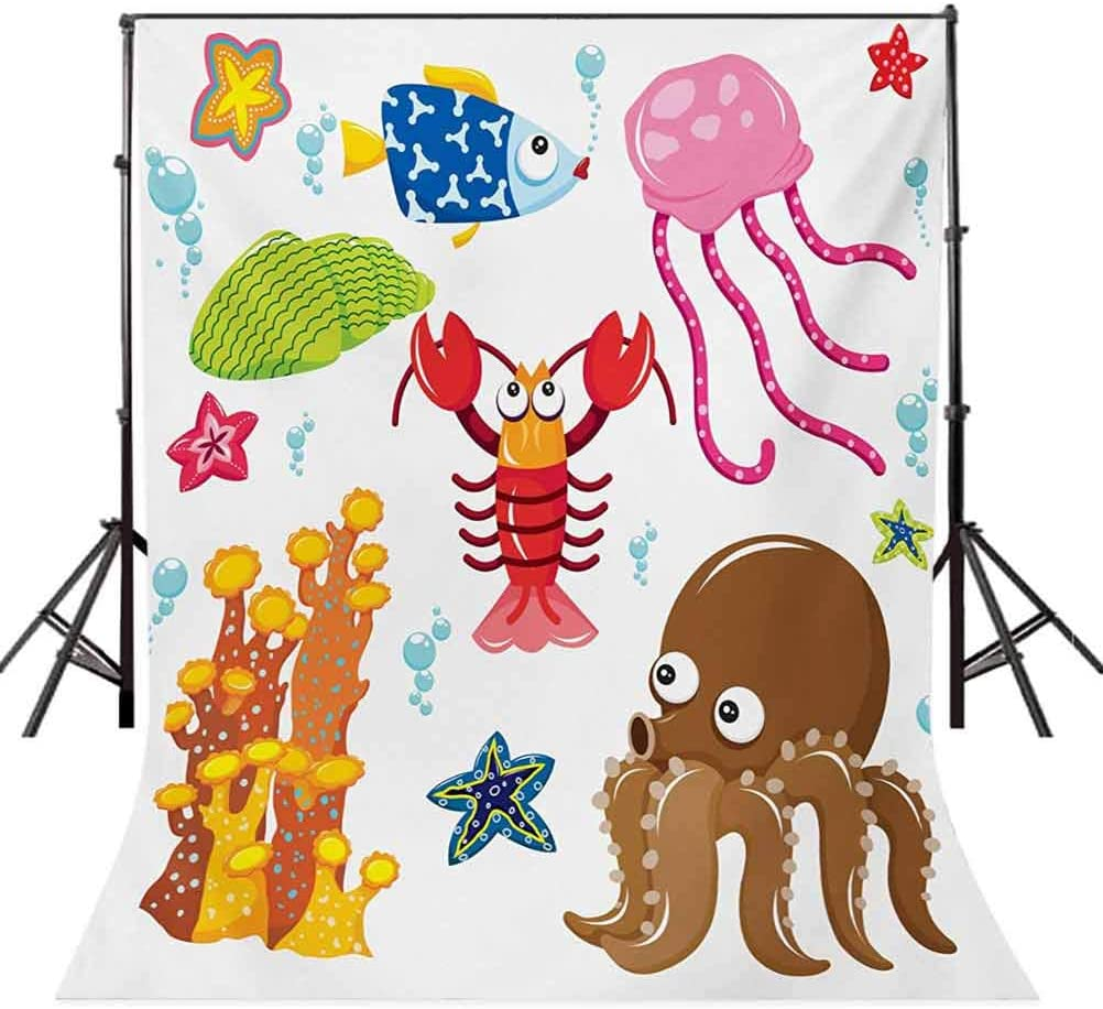 Toddler 10x15 FT Photo Backdrops,Under The Sea Wildlife Theme Funny Creatures in Cartoon Style Fun Ocean Aquarium Background for Baby Birthday Party Wedding Vinyl Studio Props Photography Multicolor